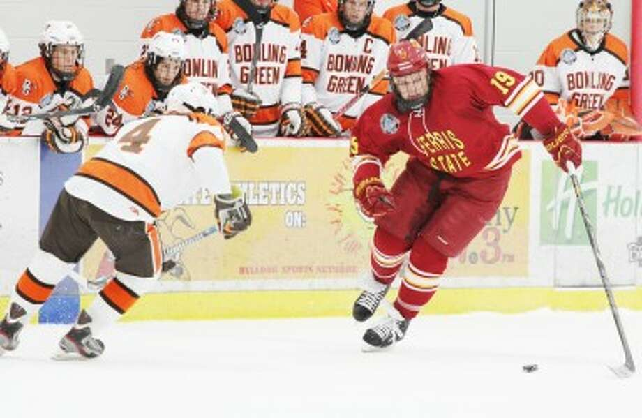 NEW RIVALS: Ferris State forward Justin DeMartino and the rest of the Bulldogs will face a number of new opponents this season in the Western Collegiate Hockey Association, including Bemidji State. (Pioneer file photo)