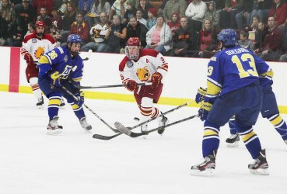 NEW LEAGUE: The Ferris State hockey team will be playing in the Western Collegiate Hockey Association next season. (Pioneer file photo)