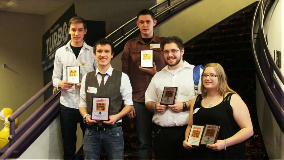 GREAT CHOICES: (From left to right) Mecosta-Osceola Career Center students Justin Austin, Eli McLachlan, Jacob Harris, Jacob Fishel and Jacquelyn Moore hold up their awards at the Meijer Great Choices Film Festival. MOCC student Rob Brooks, who also won an award, is not pictured. (Courtesy photo)