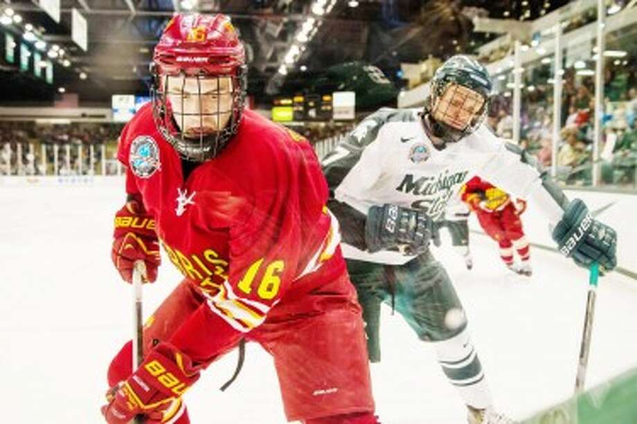 A NEW FOE: Ferris State forward Garrett Thompson and the rest of the Bulldogs will face a slew of new opponents this season in the Western Collegiate Hockey Association, including Minnesota State. (Pioneer file photo)
