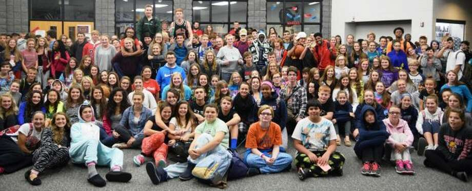 CROWD OF COMFORT: Students at Big Rapids Public Schools are encouraged to dress up for Spirit Week, leading up to homecoming on Friday. Monday was Comfy Day. (Submitted photos)