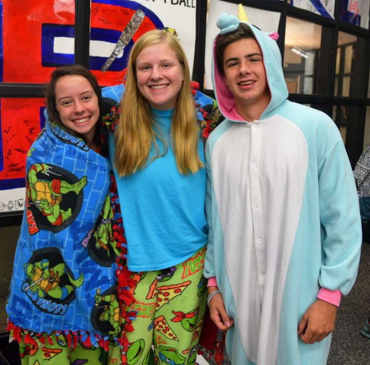 COMFY DAY: (from the left)Caitlyn Bomay, Teegan Jones and Connor McAdams show off their Comfy Day clothes during Big Rapids Public Schools' Spirit Week.