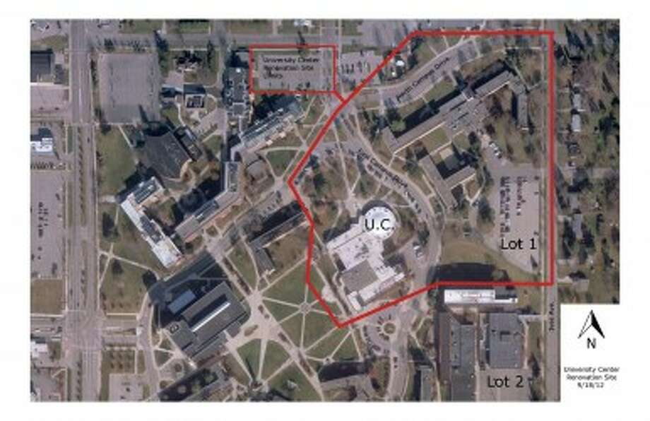MOVING FORWARD: The map shows the potential area Ferris State University's new University Center would cover. The center would replace the Rankin Student Center. Ferris' Board of Trustees voted Friday to spend $30 million to $35 million on the renovation. (Courtesy graphic)