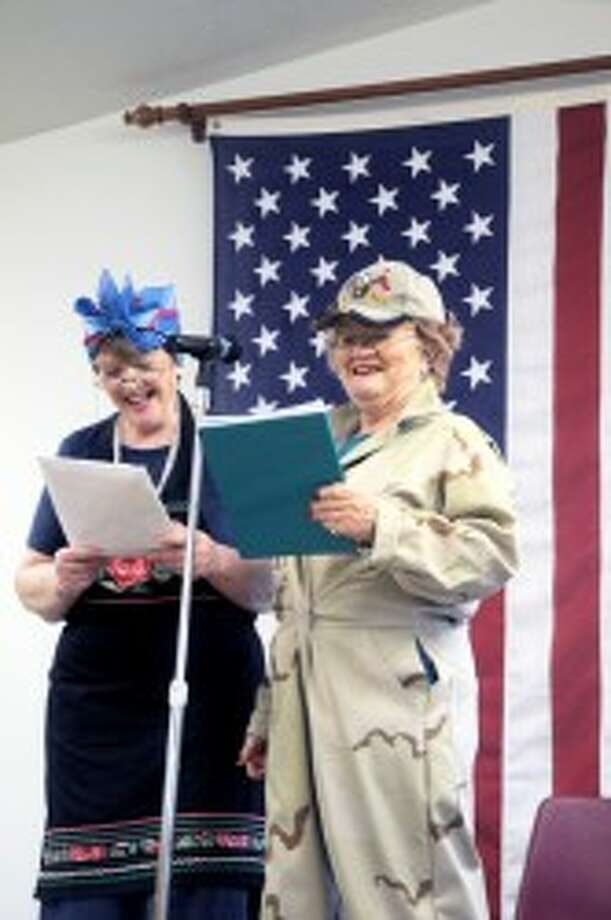 "IT'S SHOWTIME: ""Lucille Ball"" (right) and ""Ethel Mertz"" (left) entertained guests at the Senior Center during it USO Show last year. The Readers Theater, a performance group at the Senior Center, again will present a USO Show during the annual Veterans Day program on Friday. (Pioneer file photo)"