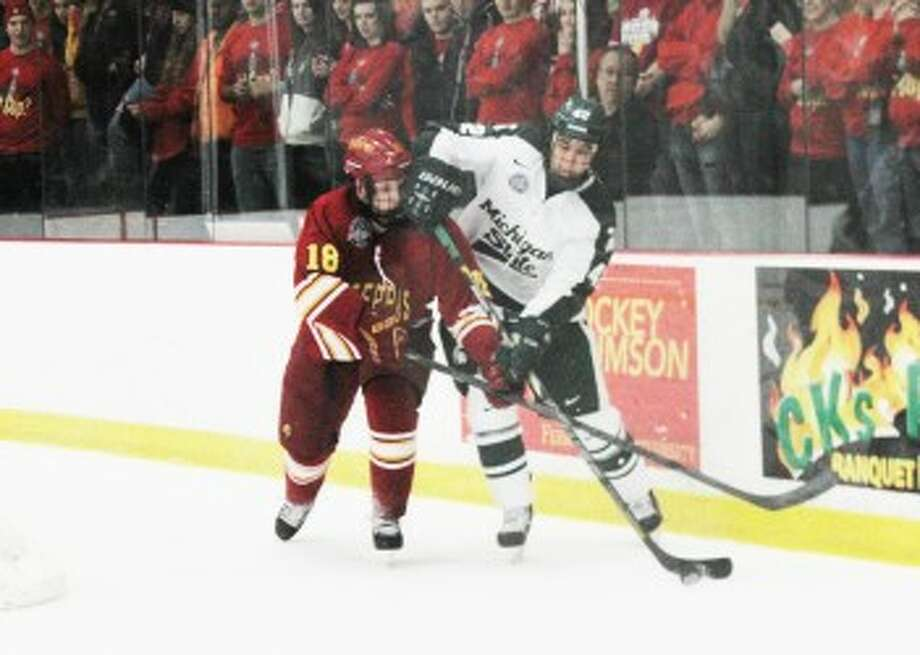 GOING NORTH: Andy Huff and the rest of the Ferris State hockey team will now face two teams from Alaska this season with the addition of Alaska Anchorage to the Western Collegiate Hockey Association. The Bulldogs will also continue playing former CCHA foe Alaska Fairbanks in the WCHA. (Pioneer file photo)