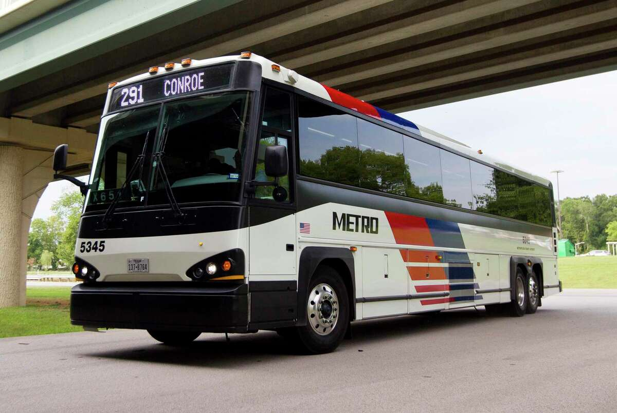 A Metro bus pulls into the station stop under I-45 near FM 2854, Tuesday, July 16, 2019, in Conroe. The Conroe Commuter Connection bus route 291 transports residents from Conroe to various locations around downtown Houston. The City of Houston released the first draft of its climate action plan. The goal is for the city to become carbon-neutral by 2050 and one way to achieve it by offering residents alternative ways of transportation, including public transit.
