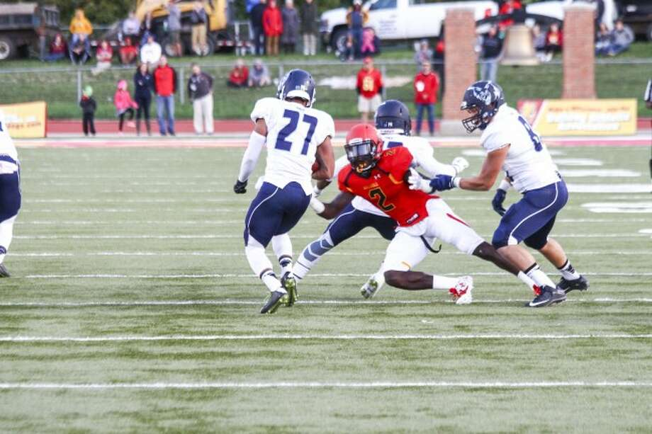 TACKLE: Ferris State University defensive back Tavierre Thomas (2) is having a solid senior season for the Bulldogs. (Pioneer file photo)
