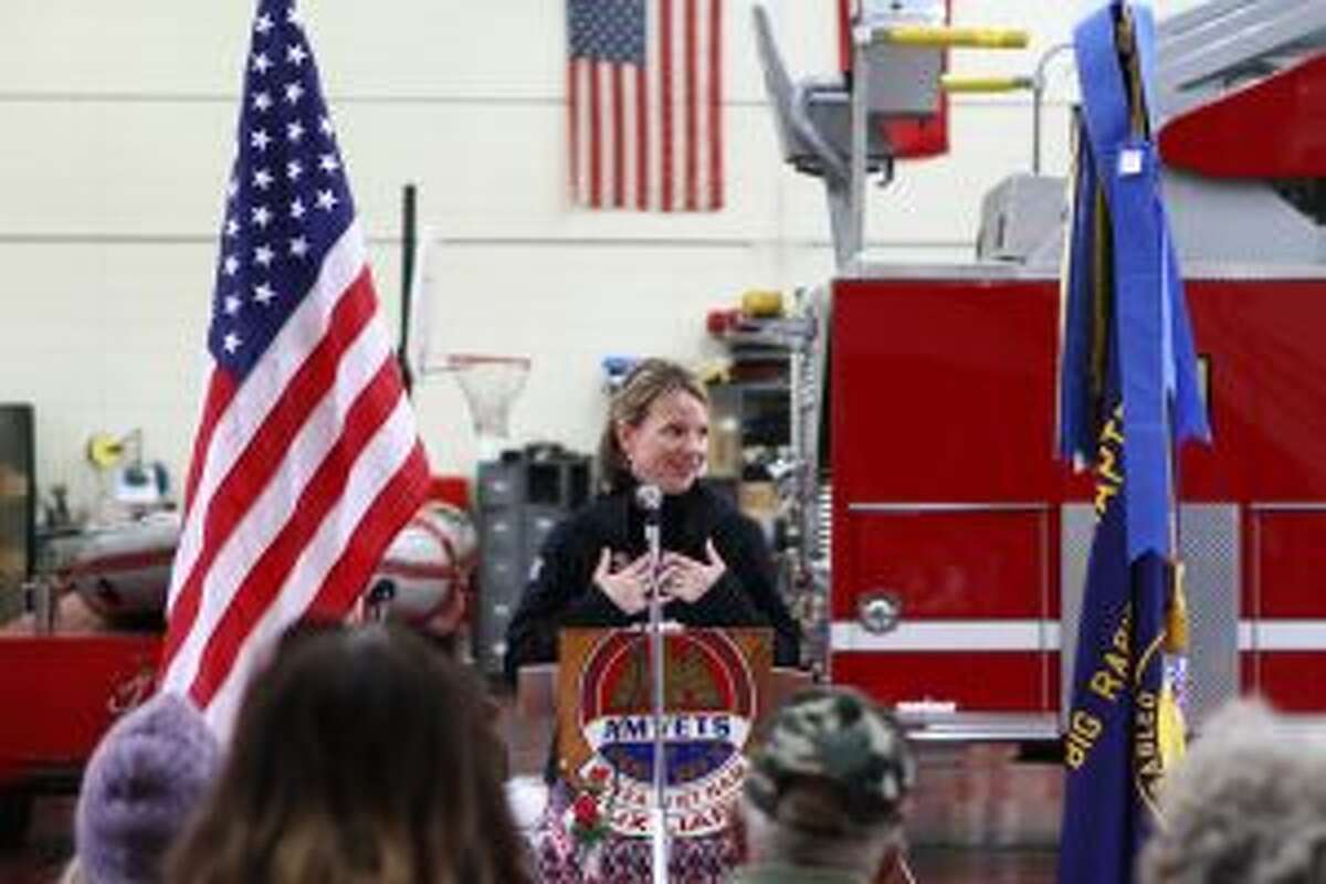 During the ceremony, State Rep. Michele Hoitenga spoke to attendees about her connection to veterans, as the mother of a serviceman. She also thanked the veterans in the room for their service to the United States.