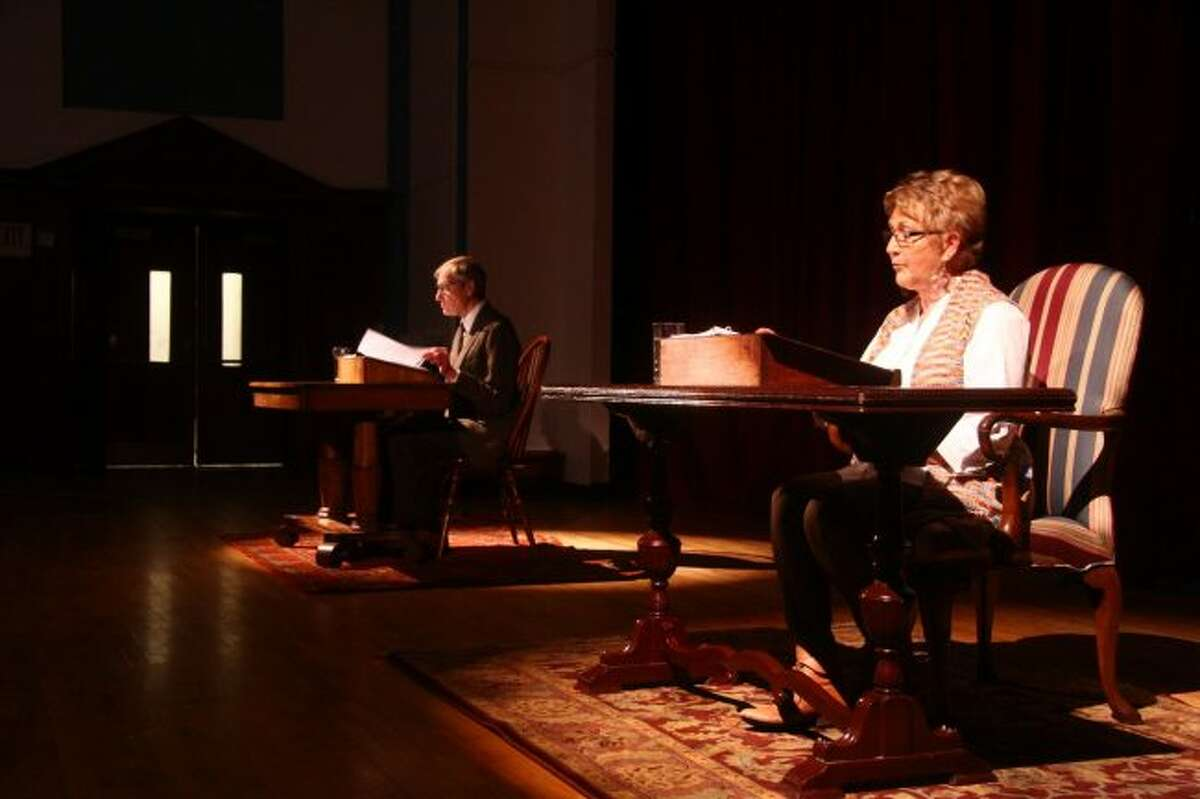 Bob Garrels, in the role of Andrew, and Elaine Cox, in the role of Melissa, rehearse their lines in preparation for the upcoming STAGE-M show,