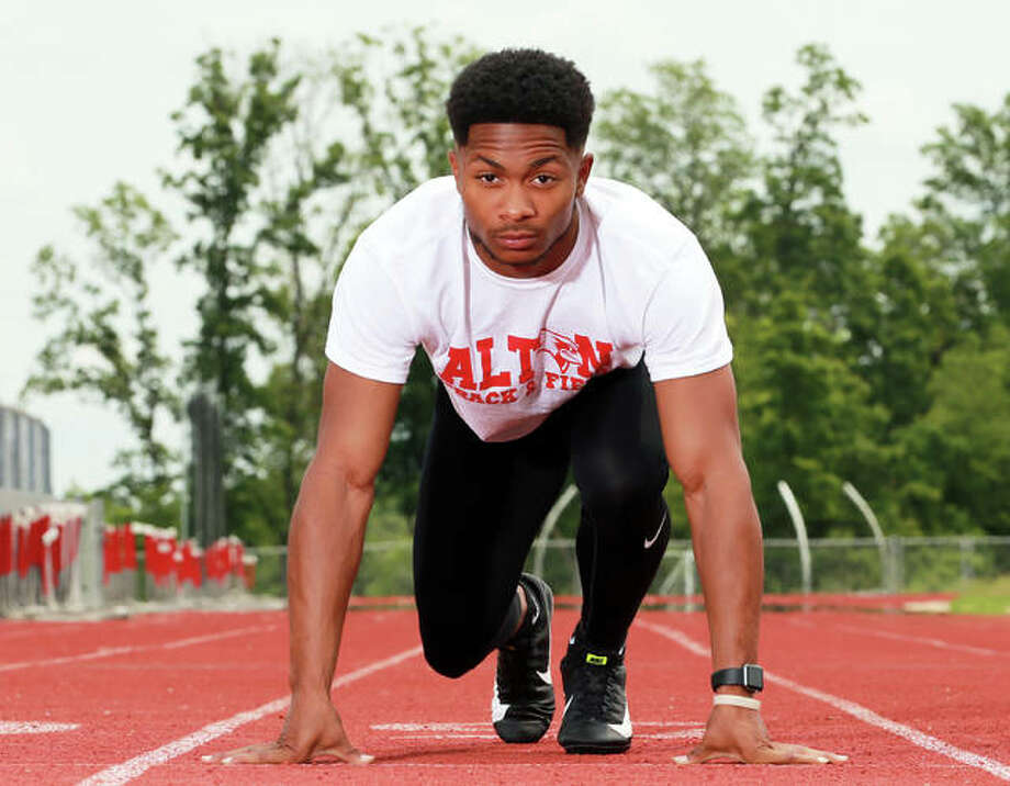 Alton's Deonte McGoy became the Redbirds' four state medalist in the 100 and is the 2019 Telegraph Large-Schools Boys Track Athlete of the Year. McGoy will run college track at Iowa Central Community College in Fort Dodge, Iowa. Photo: Billy Hurst / For The Telegraph