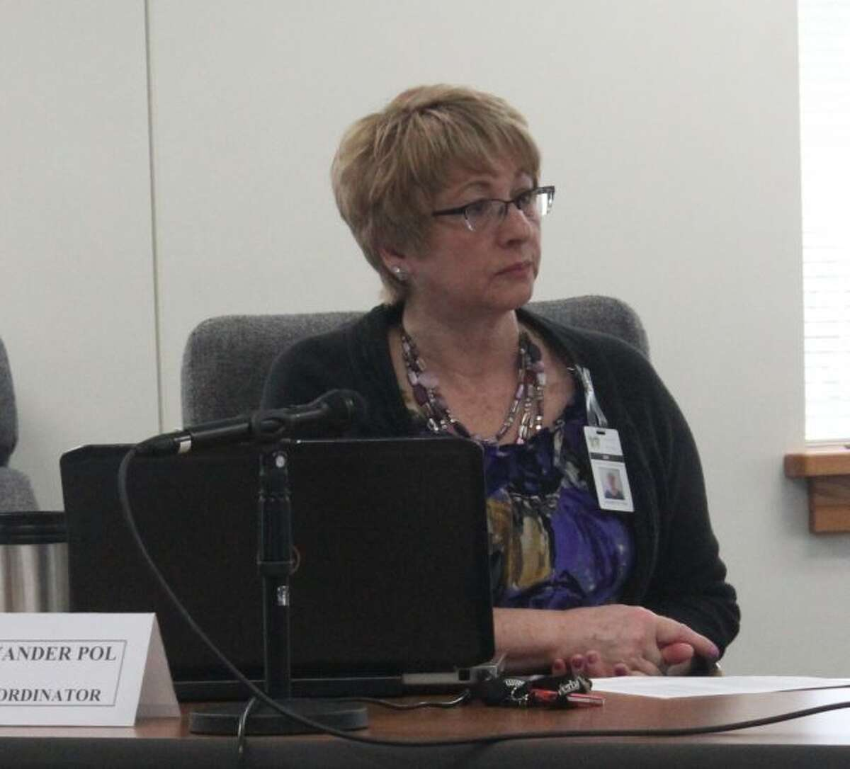 In this file photo, Osceola County Coordinator Susan Vander Pol discusses the Michigan Indigent Defense Commission with county commissioners. On Tuesday, commissioners approved a job description and hiring process for an indigent defense attorney for Mecosta and Osceola counties. (Pioneer file photo)
