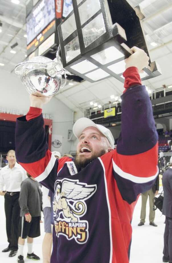 DELIGHTFUL DEBUT: Former Ferris State defenseman Chad Billins (above) and former goaltender and current Red Wings coach Jeff Blashill played a major role in bringing the American Hockey League's Clader Cup to the Grand Rapids Griffins in 2013. (Courtesy photo/Mark Newman/Grand Rapids Griffins)