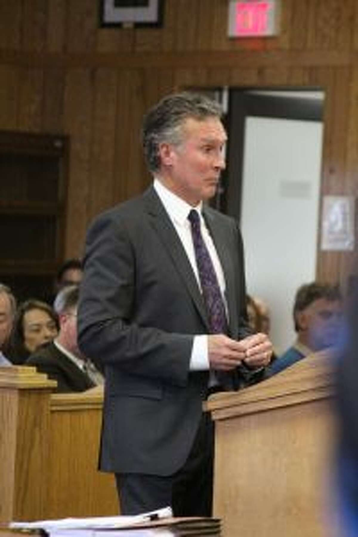 Nestlé Waters North America attorney Bill Horn argues for the company's zoning permit for its booster-pump building to be categorized as a special land use permit during oral arguments on Nov. 15, 2017, in 49th Circuit Court in Reed City. The decision from the case is being appealed by the township. (Pioneer file photo)