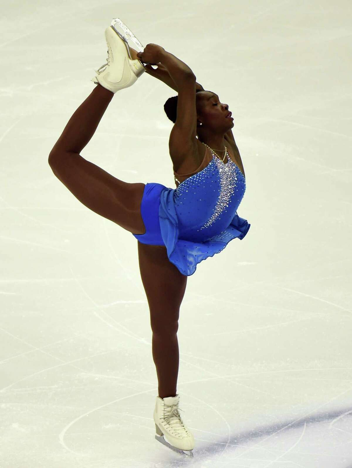Mae Berenice Meite of France competes in the ladies' free skating of the 2015 ISU World Figure Skating Championships at the Shanghai Oriental Sports Center in Shanghai on March 28, 2015. AFP PHOTO / GOH CHAI HINGOH CHAI HIN/AFP/Getty Images