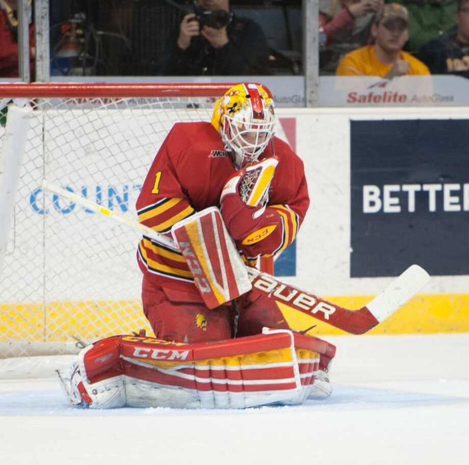Junior Ferris goalie Darren Smith had 37 saves in a 3-2 win over Western Michigan on Saturday. (Ferris State photo)