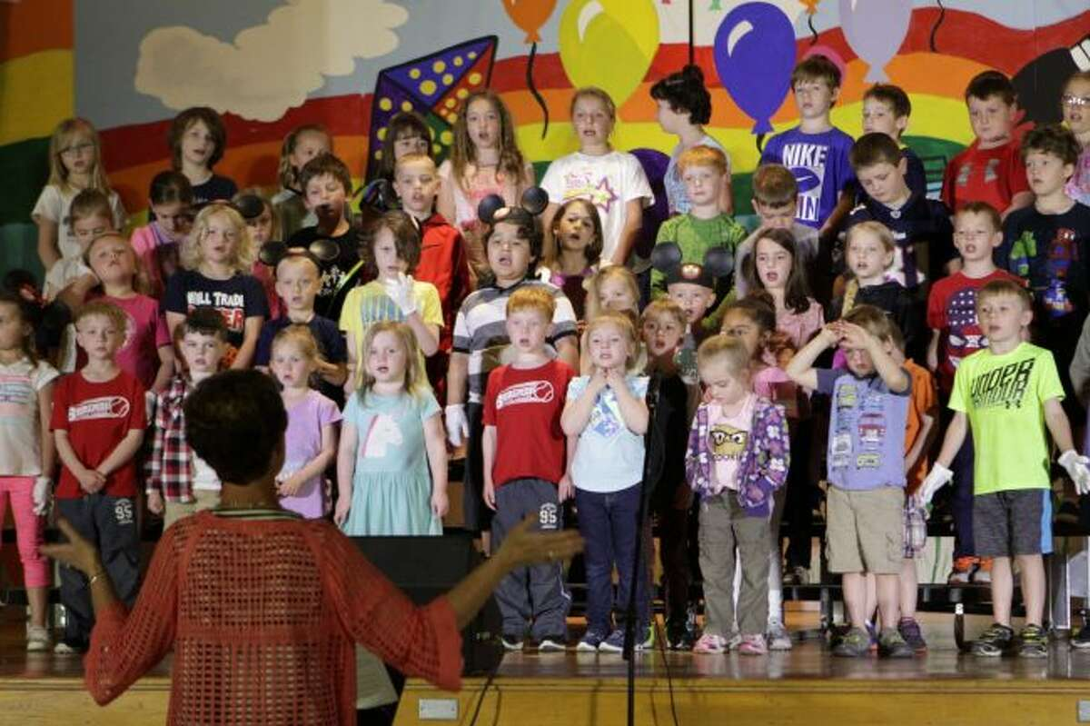 St. Peter's Lutheran School preschool through fourth-grade students practice for their upcoming musical, which will begin at 12:30 p.m. on Thursday and at 7 p.m. on Friday. (Pioneer photo/Meghan Gunther-Haas)
