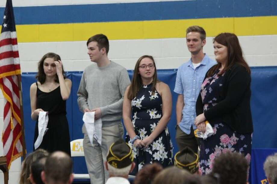 Members of Evart High School's Class of 2019 received athletic, academic and scholastic recognition for their for years of hard work during senior honors night on Thursday at the high school. Among the many awards presented to Evart's seniors, there also was recognition for those in student government, National Honor Society and a variety of athletic accolades. Recipients received scholarships from local, county, state and national organizations and more. (Pioneer photo/Brandon Fountain)
