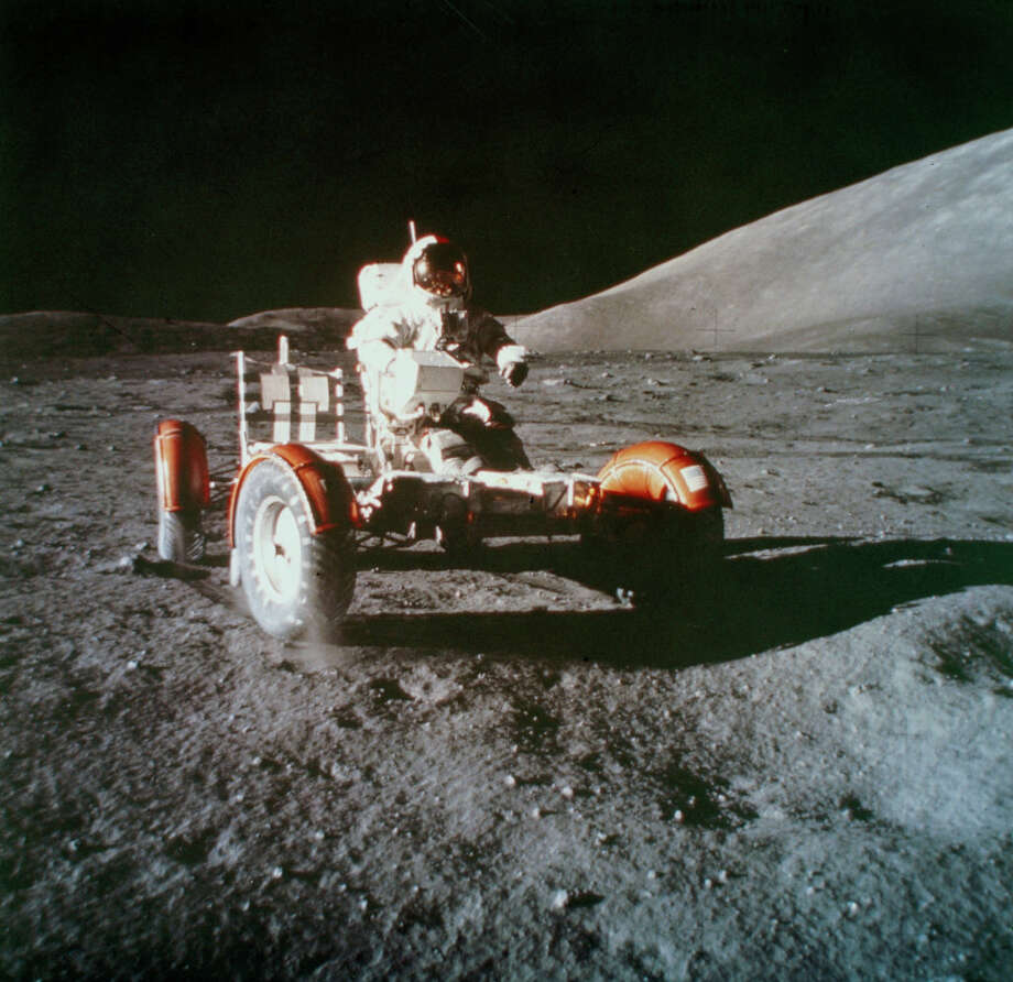 UNITED STATES - MAY 17:  Cernan is making a short check of the performance of the Lunar Rover during the Apollo 17 mission. Apollo 17, the sixth and last manned mission to the Moon, with astronauts Cernan, Ronald Evans and Harrison Schmitt on board, was launched on 7th December 1972. Schmitt, the twelth man to walk on the Moon, was also the first geologist to set foot on its surface. The battery powered Lunar Rover, first used on the Apollo 15 mission, significantly increased the amount of ground the astronauts could cover in the course of their exploration of the lunar surface.  (Photo by SSPL/Getty Images) Photo: Science & Society Picture Librar/SSPL Via Getty Images / SSPL/NASA
