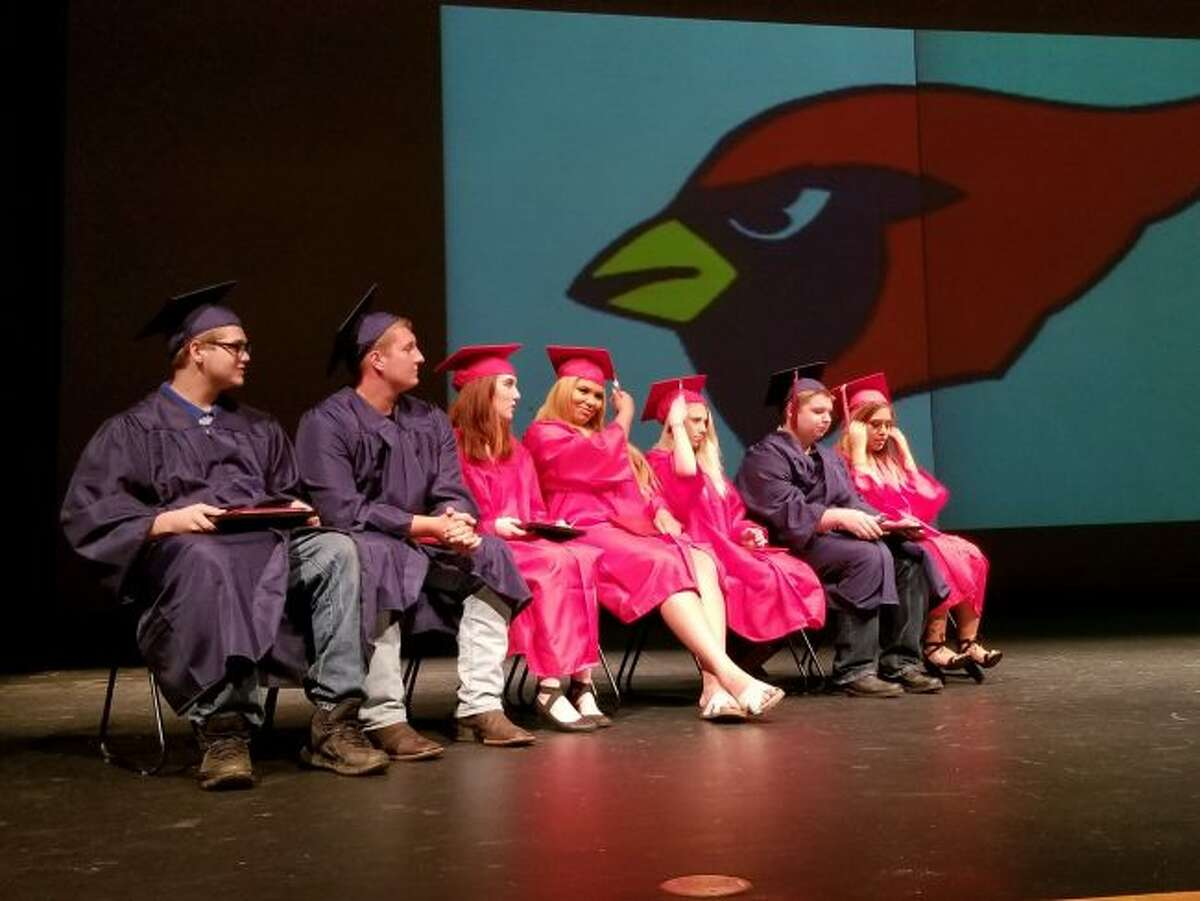 After being presented with awards and their diplomas, members of the newest Big Rapids Virtual School graduating class turned their tassels. (Pioneer photo/Meghan Gunther-Haas)