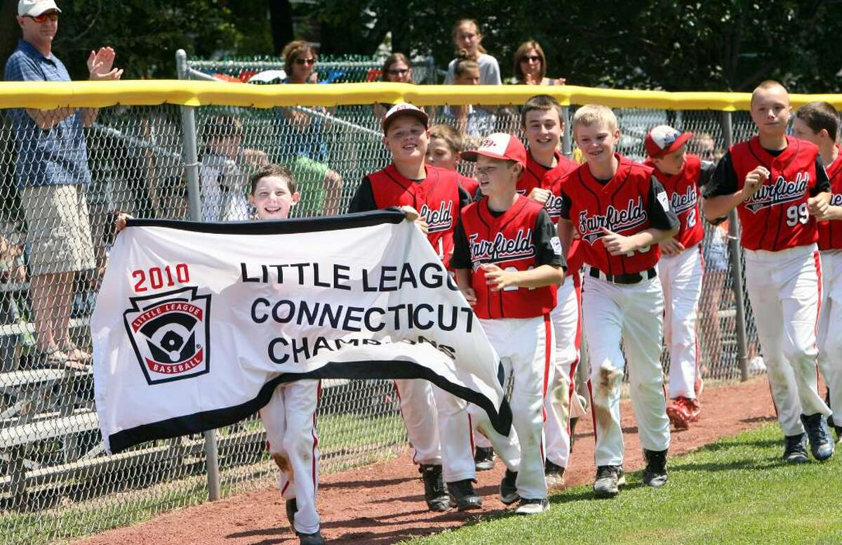 Fairfield American's celebrates after winning the Connecticut State Little League championship game at Thorme field in Bridgeport on Sunday, August 1 , 2010. Fairfield advances to the New England Regional Tournament in Bristol on Friday.