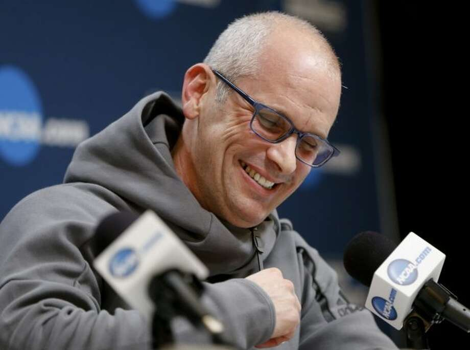 Rhode Island's head coach Dan Hurley takes questions during a news conference for an NCAA college basketball first round game in Pittsburgh, Wednesday, March 14, 2018. (AP Photo/Keith Srakocic)