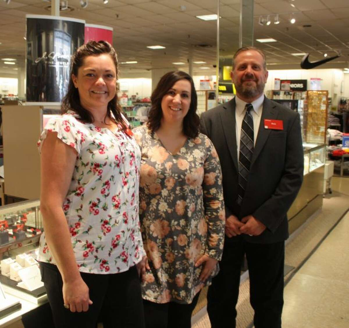 Pictured from left are Big Rapids JCPenney cashier supervisor Krystle Nellis, merchandise supervisor Kristin Murawski and general manager Rick Swinson at the store on Thursday. Swinson was recently given the company's Founder's Award for the local store's accomplishments in 2018. (Pioneer photo/Tim Rath)