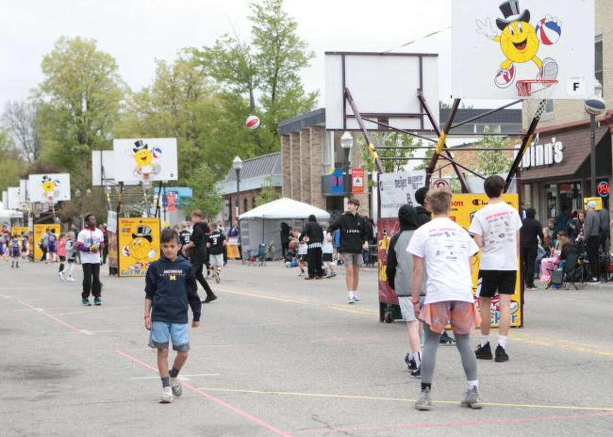 Downtown Big Rapids was closed off for the majority of the weekend as Michigan Avenue became home to several basketball courts for the annual Gus Macker tournament.