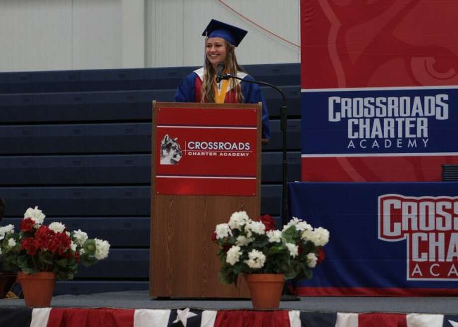 Class of 2019 valedictorian Mary Wendlowsky thanks her family, friends, teachers and classmates for helping her achieve her goals throughout her academic career thus far and congratulates her fellow students on reaching this milestone in their lives. (Pioneer photos/Taylor Fussman)