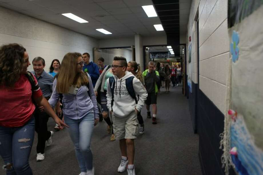 After the bell rang, Chippewa Hills Intermediate School students had five minutes to find their lockers, gather their supplies and find their homerooms on the first day of school on Tuesday. (Pioneer photos/Meghan Haas)