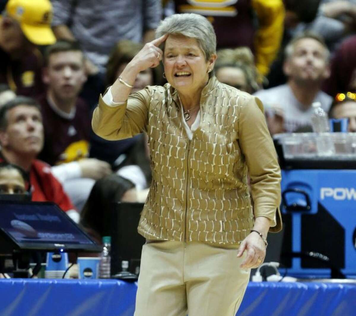 In this Monday, March 19, 2018, file photo, Central Michigan coach Sue Guevara directs her team during the second half of a second-round game against Ohio State in the NCAA women's college basketball tournament in Columbus, Ohio. (AP Photo/Paul Vernon, File)