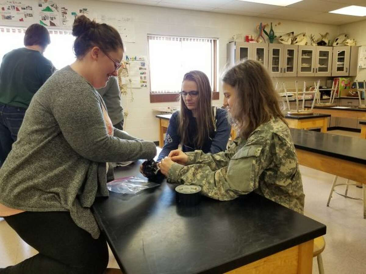 Evart High School students (from left) Nicole Lamphere, Kaylee Henry and Julia Forbes work together to protect an egg from cracking when it is dropped on the floor. The project was part of the construction session during EHS' Career Day on Wednesday. (Pioneer photos/Meghan Gunther-Haas)
