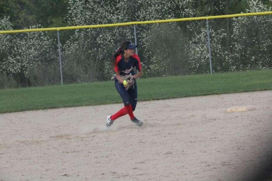 Big Rapids shortstop Emma Daum gets set to make the throw to first base against Manistee. (Pioneer photo/John Raffel)