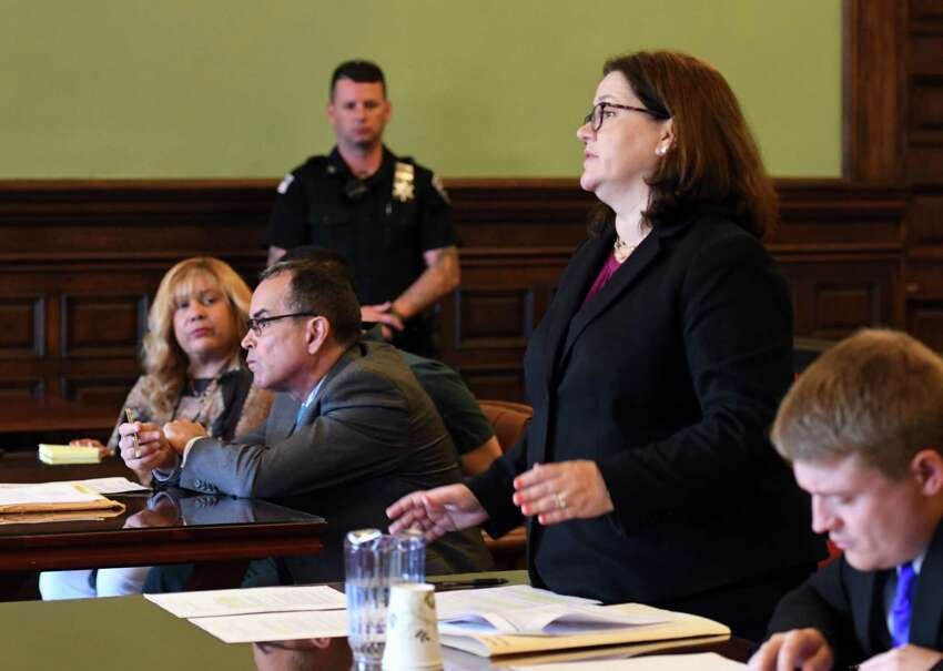 Rensselaer County District Attorney Mary Pat Donnelly, right, addresses Judge Andrew Ceresia during the sentencing of Luis Monge Guevara on Friday, July 26, 2019, at the Rensselaer County Courthouse in Troy, N.Y. Guevara received concurrent sentences of 25 and 15 years for a murder conviction and robbery in North Central Troy. (Will Waldron/Times Union)