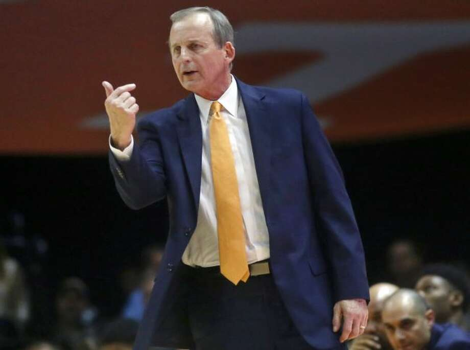 In this Feb. 13, 2018, file photo, Tennessee head coach Rick Barnes motions to one of his players during the second half of an NCAA college basketball game against South Carolina in Knoxville, Tenn. Barnes was selected as the AP SEC coach of year Tuesday, March 6, 2018. (AP Photo/Crystal LoGiudice, File)