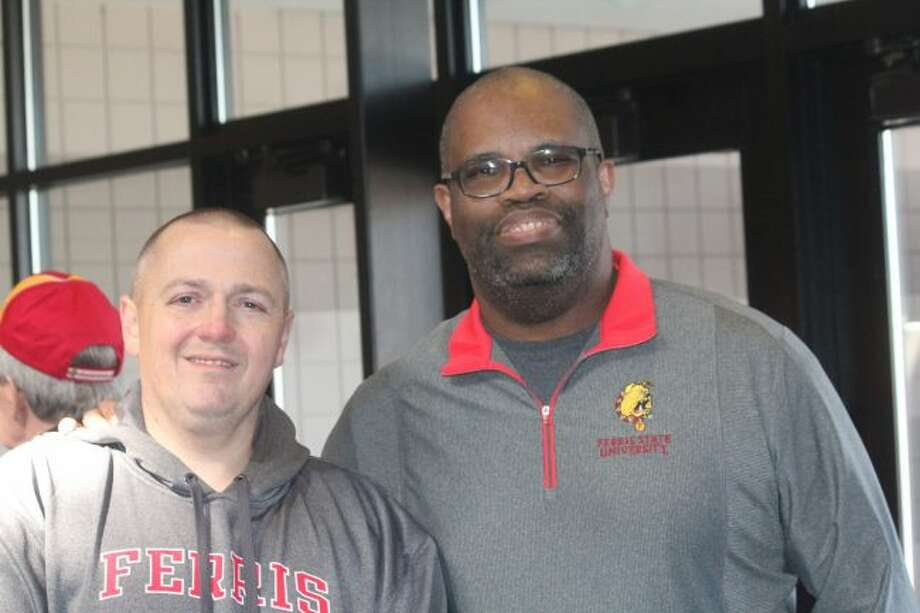 Rob Bentley (left) and Sandy Gholston called Ferris State's run to a national title. (Pioneer photo/John Raffel)
