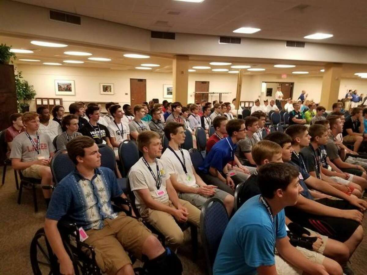 Participants in the 2017 Boys State gather at Grand Valley State University during the first day of the event. (Courtesy photo)
