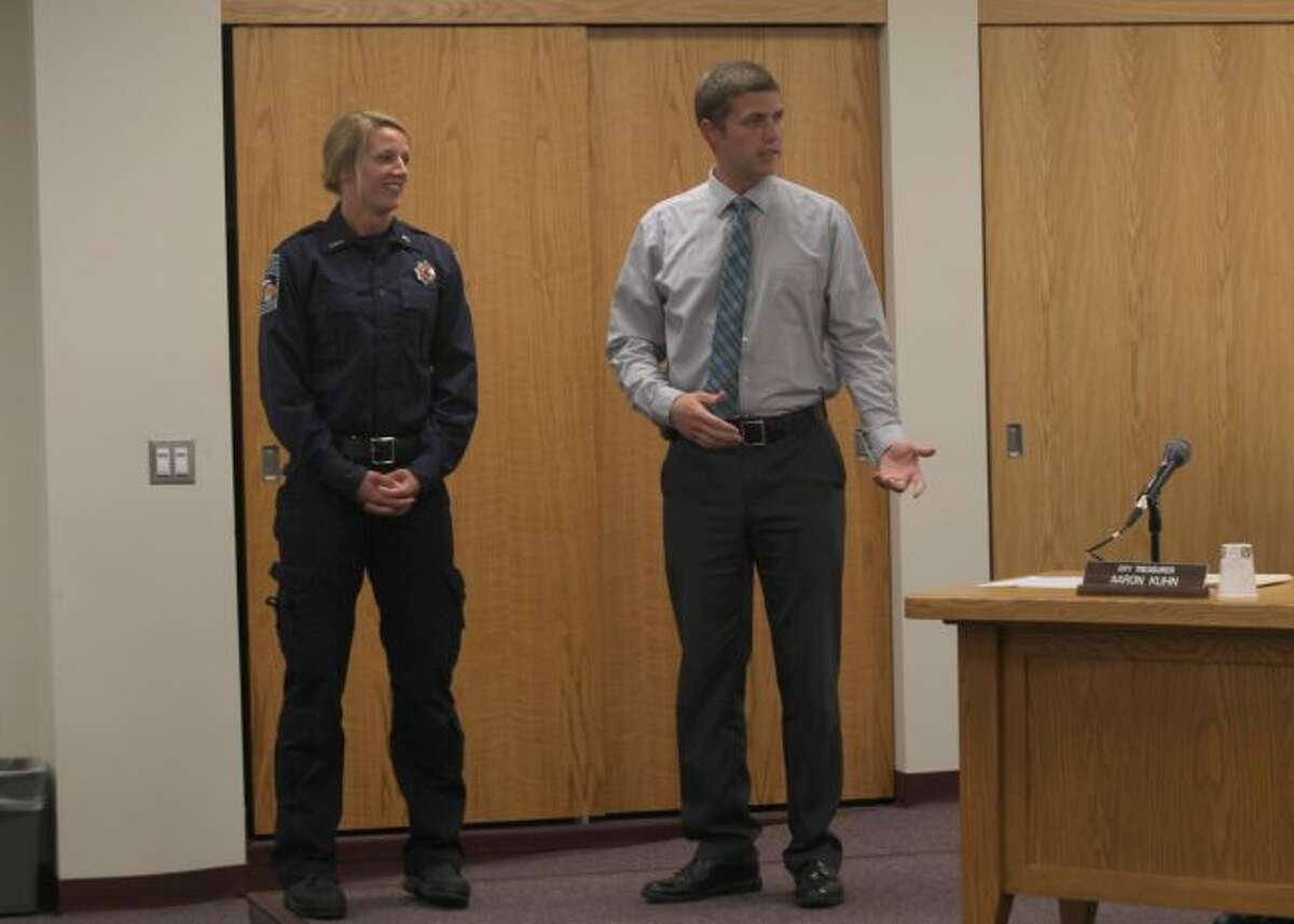 During the Big Rapids City Commission meeting Tuesday evening, Big Rapids Department of Public Safety Deputy Director Steve Schroeder introduced Bethany Hamilton as a new firefighter with the city. (Pioneer photo/Taylor Fussman)