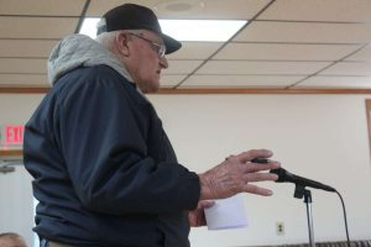 Former Mecosta Township Supervisor John Boyd Sr. speaks during the public portion of Wednesday's meeting, unhappy with the board's decision to not consider Austin Township's offer for the joint fire department between Austin and Mecosta townships.