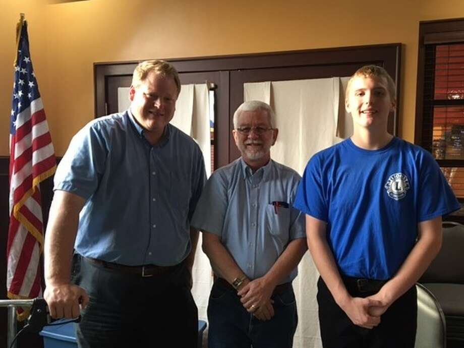 Casey Gabalis had the opportunity to participate in the Lions All-State Band. Pictured are (from left) Jeff Gabalis, Casey's father; Tom Samuel, Lions Club president; and Casey Gabalis. (Courtesy photo)