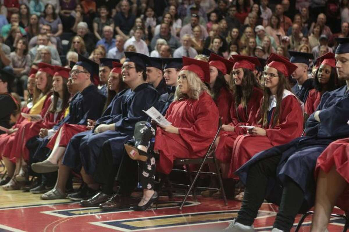 Big Rapids High School students listened to the graduation ceremony's guest speaker, Jessica Haist, BRHS teacher, offer advice and congratulations on their academic accomplishments.