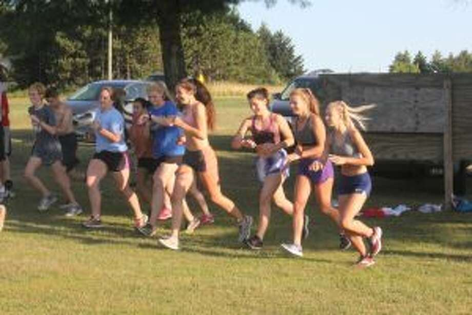Chippewa Hills girls runners get ready for a practice