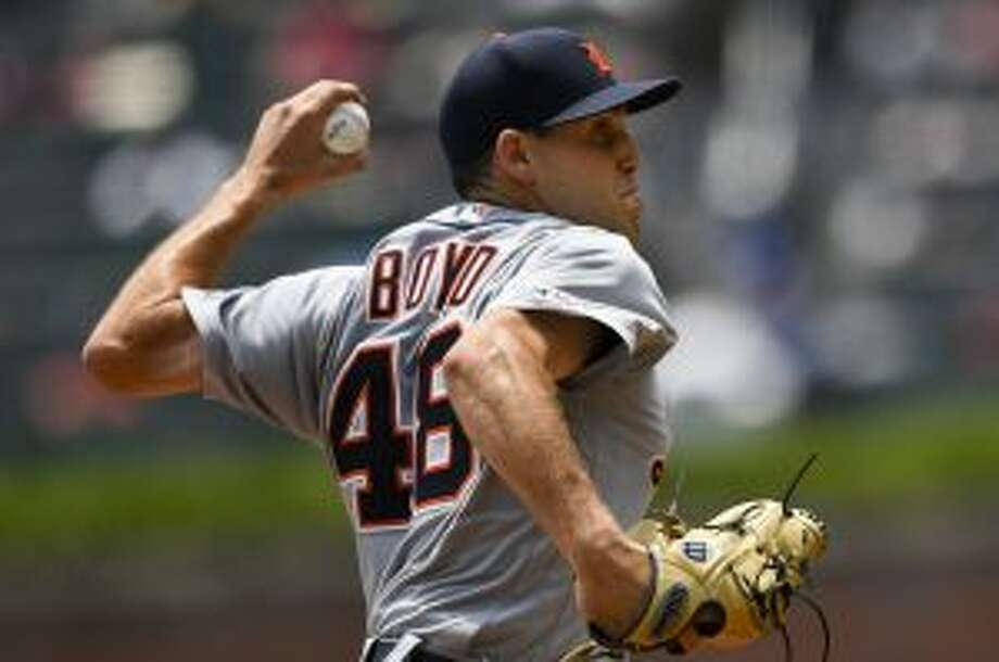 Detroit Tigers' Matthew Boyd pitches against the Atlanta Braves during the first inning of a baseball game Sunday, June 2, 2019, in Atlanta. (AP Photo/John Amis)