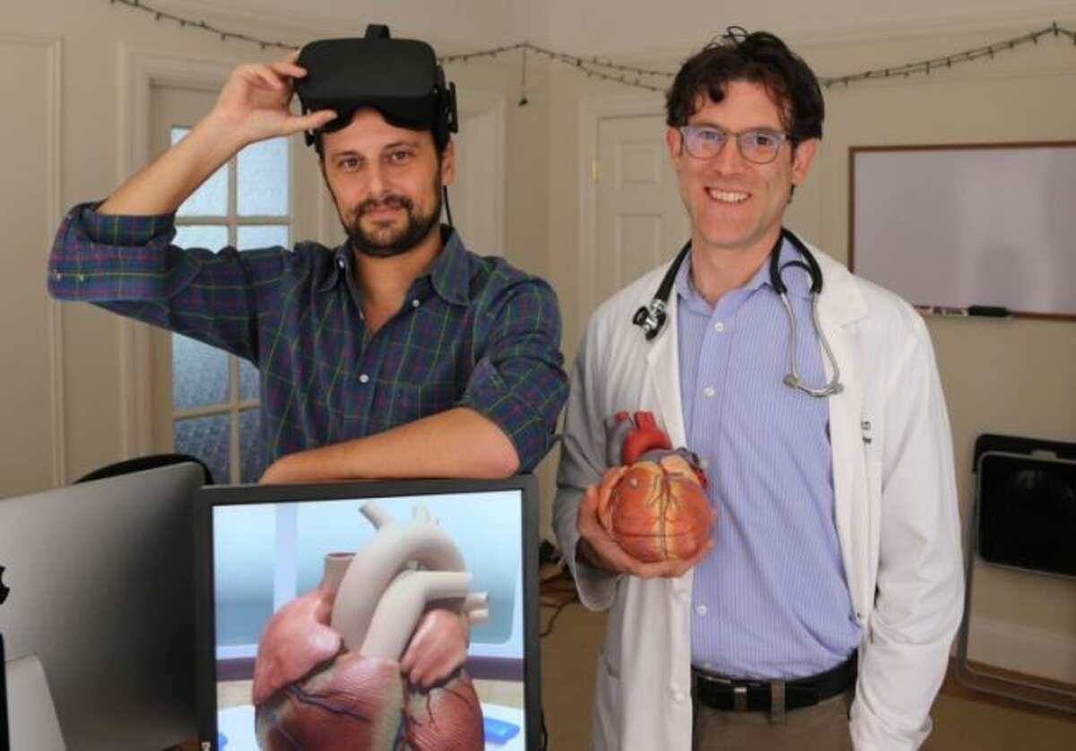 Pictured are Dr. David Axelrod (right) of Stanford University School of Medicine and David Sarno, founder of Lighthaus, Inc., which created the Stanford Virtual Heart. (AMERICAN HEART ASSOCIATION NEWS Photo courtesy of David Axelrod)