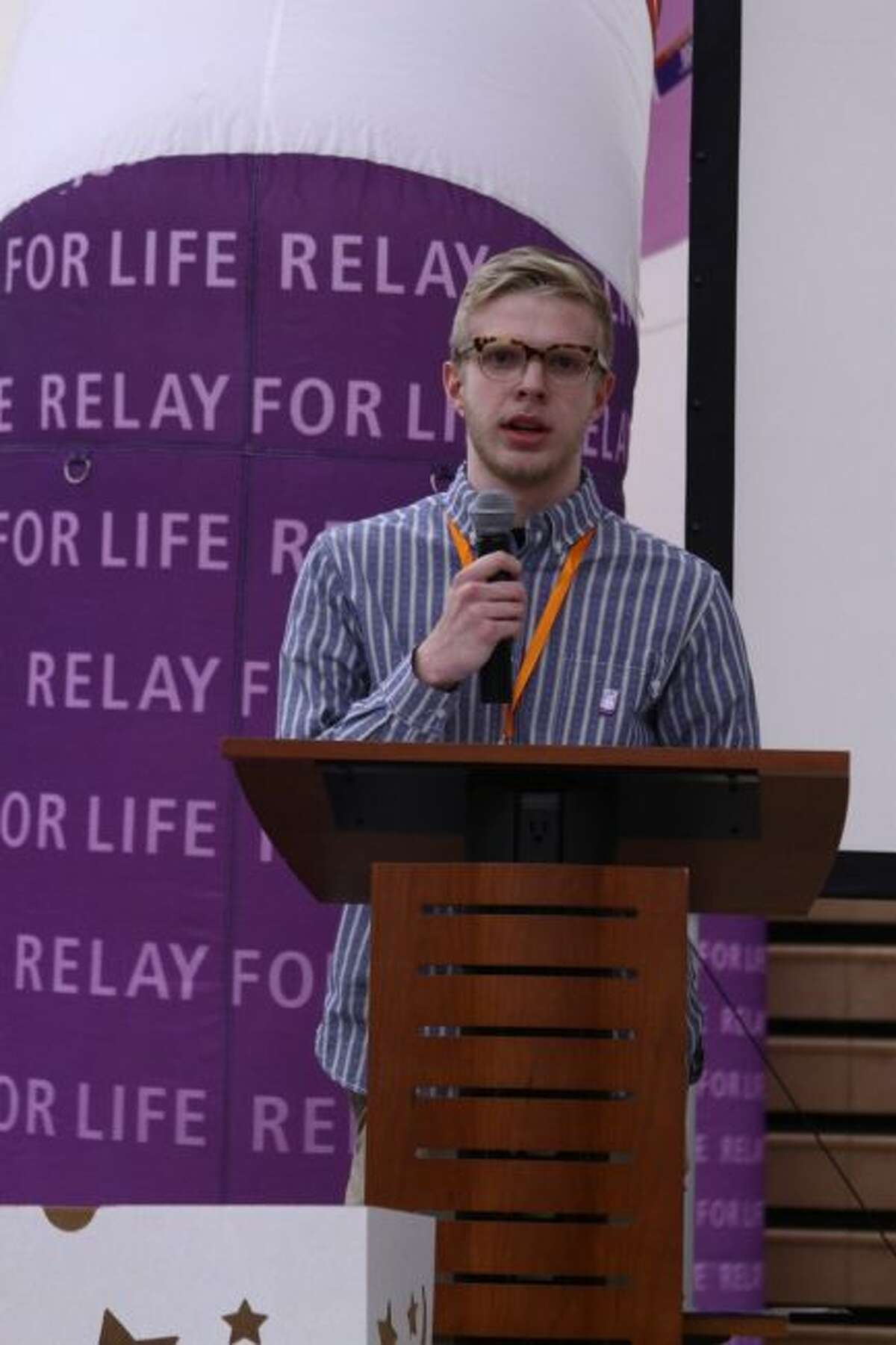 SURVIVOR: Ferris State University Clayton Stakley gives his speech about being diagnosed with leukemia and his battle with the disease during Friday's Relay for Life event at Jim Wink Arena.