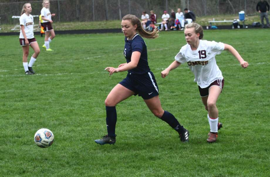 CCA's Allie Angell (left) emerged as the team's leading goal scorer this season. . (Pioneer photo/Maxwell Harden)