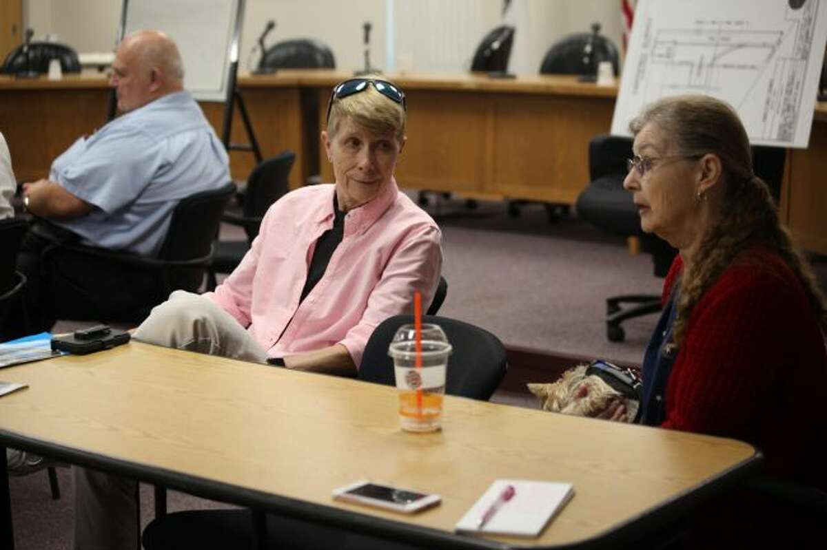 During a public meeting on Thursday, Sept. 6, Linda Proctor (left) and Beverly Baker discussed preserving the history of the old railroad depot on Maple Street and turning it into a community center for individuals to rent out. (Pioneer photo/Taylor Fussman)