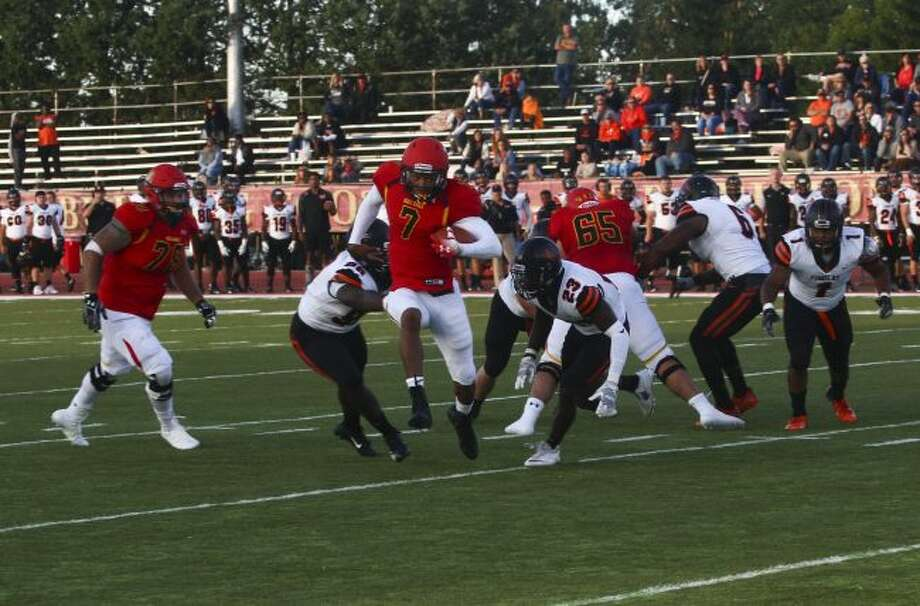 Ferris State quarterback Jayru Campbell accounted for five touchdowns and more than 300 yards of total offense in Saturday's win over Findlay. (Pioneer file photo)