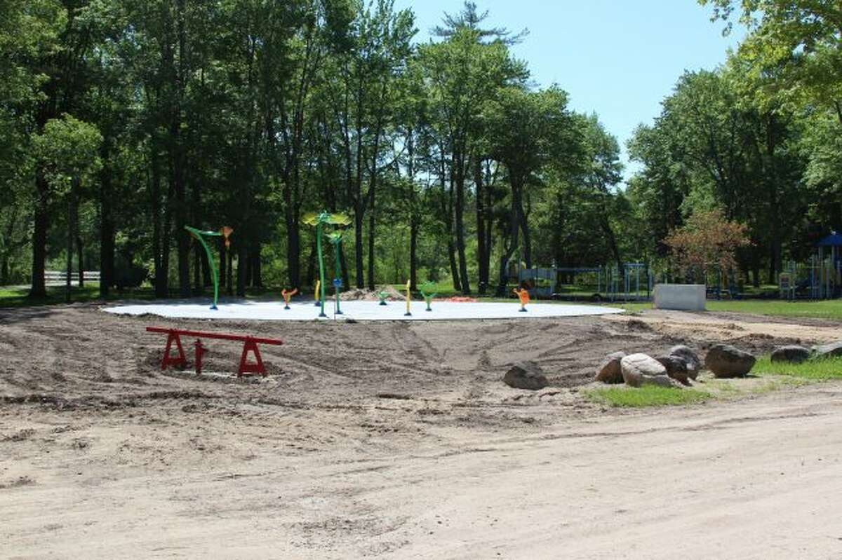 The splash pad at Riverside Park in Evart is almost complete. Over the next few weeks, the final touches of the project will be finished, including fencing and sidewalks. (Pioneer photo/Brandon Fountain)