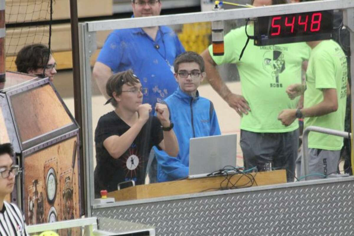 Members of Crossroads' CC Automationeers prepare for a match on Saturday afternoon. (Pioneer photo/Brandon Fountain)
