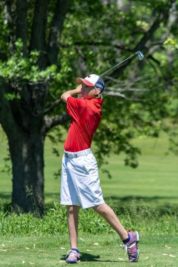 Big Rapids freshman Luke Welch watches his shot on hole No. 11 at Katke Golf Course during the state finals on Friday. (Courtesy photo)